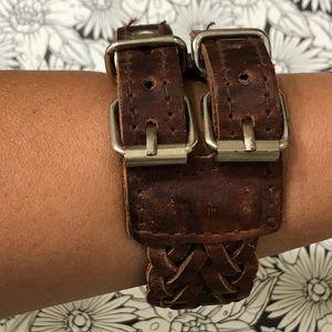 Leather braided cuff